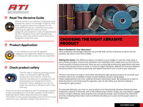 Choosing the right Abrasive Product